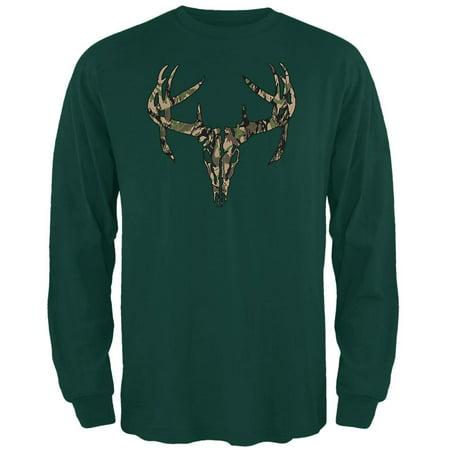 Woods Camo Deer Skull Mens Long Sleeve T Shirt Forest Green SM Wood Camo T-shirt