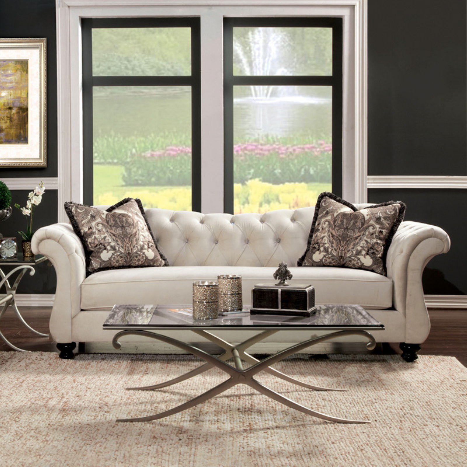 Furniture of America Wellington Premium Fabric Sofa - Cream White