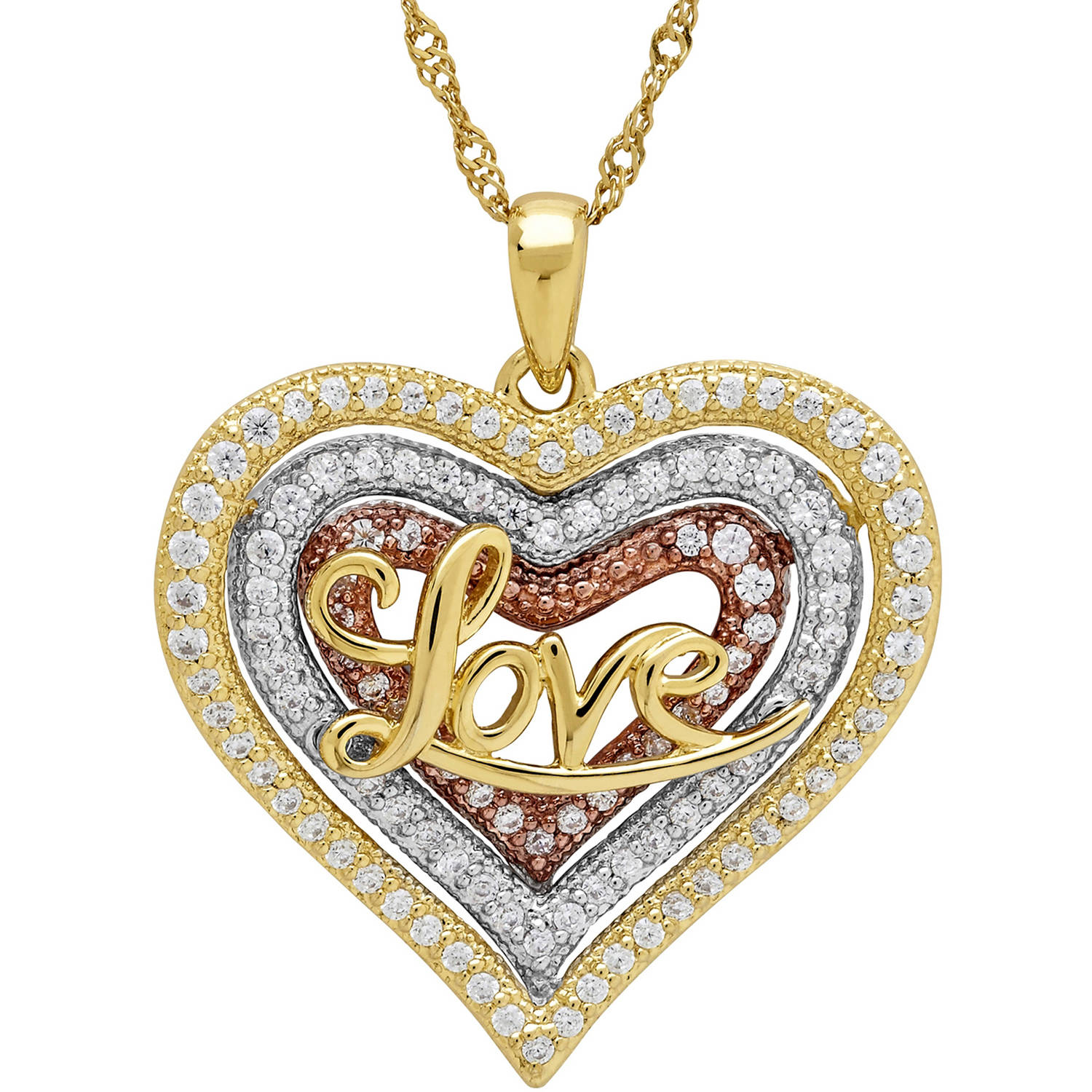 "Sterling Silver and 18kt Gold-Plate Heart with CZ and ""Love"" Pendant"