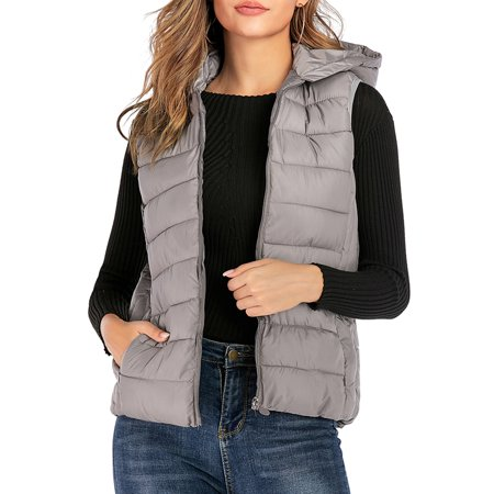 LELINTA Women Sleeveless Winter Jacke Lightweight Warm Waistcoat Vest Coat Jacket Zip-Up Travel Fashion Top Jacket, Black/