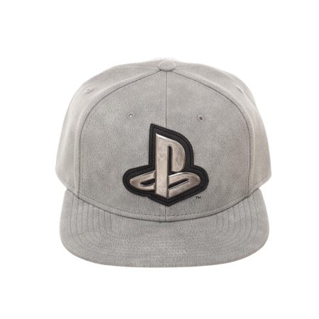 Bioworld Licensed Sony Playstation Distressed PU Leather with Metal Logo Grey Snapback Hat - image 5 of 5