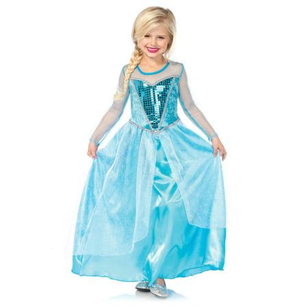 Girls' Fantasy Snow Queen Long Dress w/ Glitter