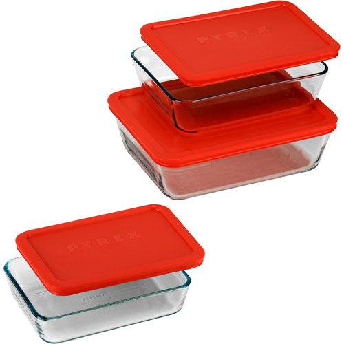 Pyrex 6 Piece Rectangular Storage Value Pack with Red Plastic Covers