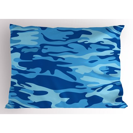 Camouflage Pillow Sham Abstract Camo Navy Military Costume Concealment from the Enemy Hiding, Decorative Standard Queen Size Printed Pillowcase, 30 X 20 Inches, Pale Blue Navy Blue, by Ambesonne