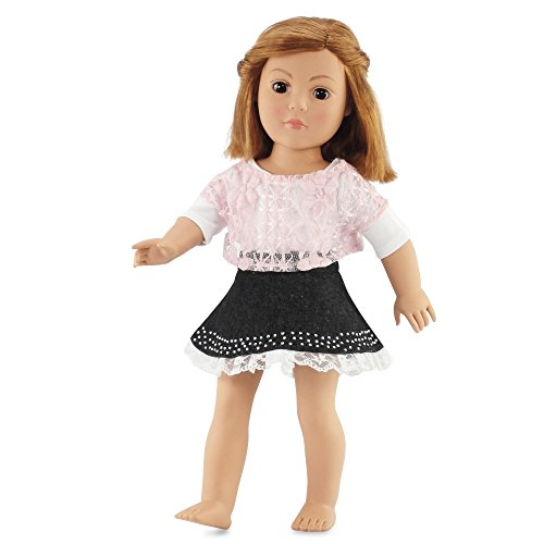 "18 Inch Doll Clothes Denim Skirt and Pink Lace Shirt Outfit | Fits 18"" American Girl... by Emily Rose Doll Clothes"