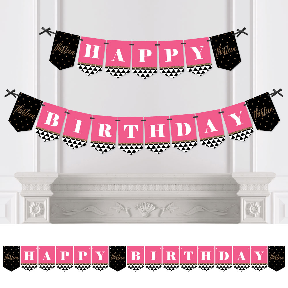 Chic 13th Birthday - Pink, Black and Gold - Birthday Party Bunting Banner - 13th Party Decorations - Happy Birthday