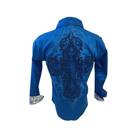Men's Long Sleeve Button Down Shirt Tribal Cross Embroidery With Stones Blue With Paisley Trim SH261
