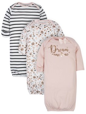 Gerber Baby Girl Organic Gowns, 3-Pack