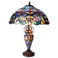 "CHLOE Lighting NORA Tiffany Style Victorian Double lit 3 Light DTable Lamp 18"" Shade"