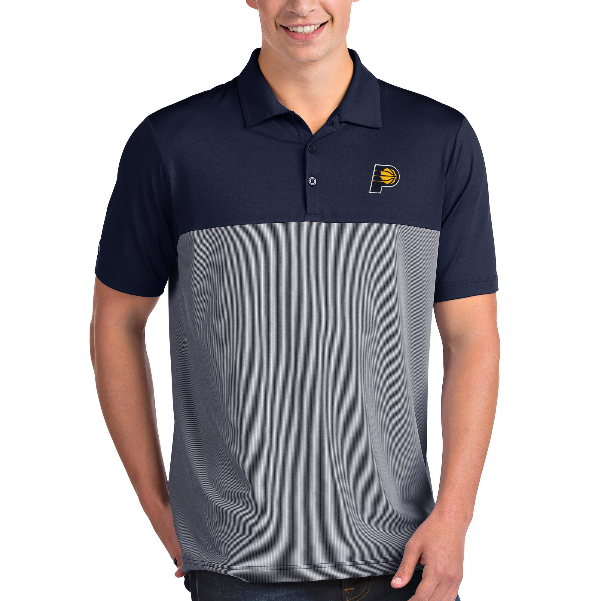 Indiana Pacers Antigua Venture Polo - Navy/White