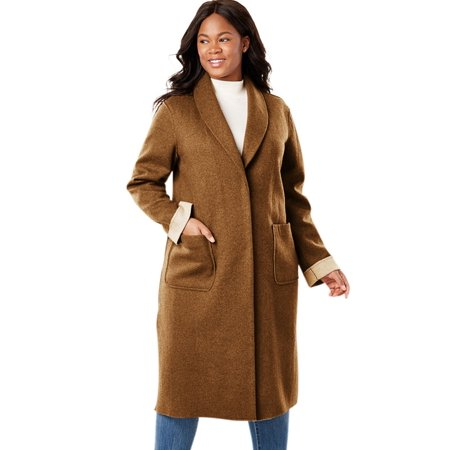 8b754ef1515 Woman Within - Plus Size Lightweight Wool Double-faced Coat - Walmart.com