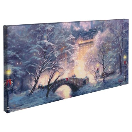 "Thomas Kinkade Holiday at Central Park ? 16"" x 31"" Gallery Wrapped Canvas"