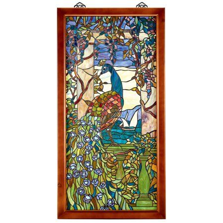 Design Toscano Peacock With Wisteria Wood-Framed Stained Glass Window (Stained Glass Supply)