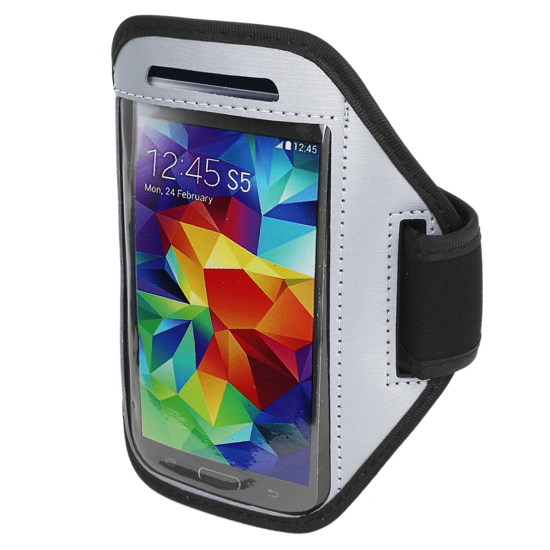 Unique Bargains Running Jogging Sports Padded Arm Band Holder Case for S5