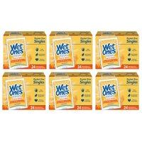 (6 Pk) Wet Ones Antibacterial Hand Wipes Singles, Tropical Splash, 24 Ct