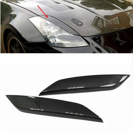 Real Carbon Fiber Headlight Eye Lid Eyelids Trim Cover For Nissan 03-08 350Z Z33 ()