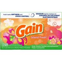 Gain Fabric Softener Dryer Sheets Island Fresh 120 ct