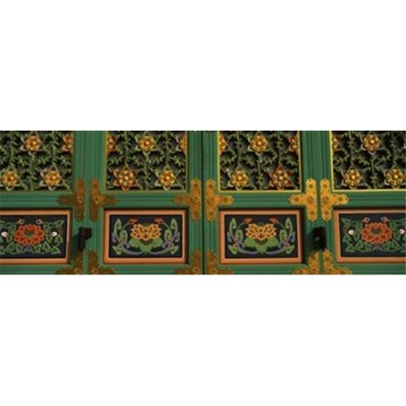 Paintings on the door of a Buddhist temple  Kayasan Mountains  Haeinsa Temple  Gyeongsang Province  South Korea Poster Print by  - 36 x 12 - image 1 of 1