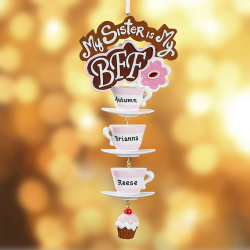 "Personalized ""My Sister My BFF"" Tea Cups Christmas Ornament, 3 Names"