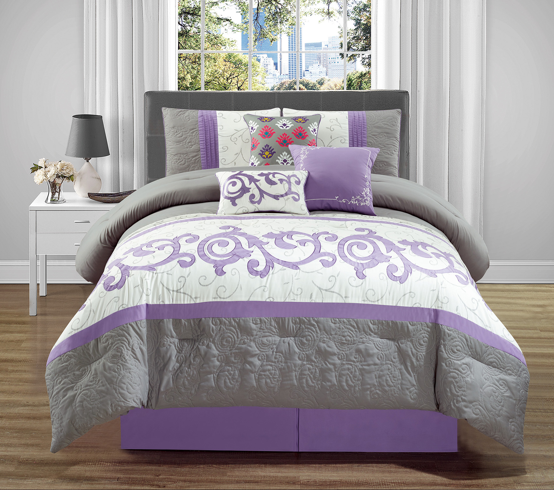 Wpm 7 Pieces Complete Bedding Ensemble Beige Lavender Purple Grey Luxury Embroidery Comforter Set Bed In A Bag Queen Or King Size Bedding Montreal Queen Walmart Com Walmart Com