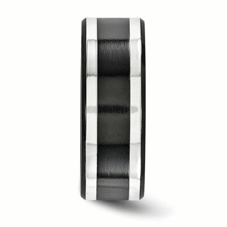 Edward Mirell Titanium Black Ti & Sterling Silver Inlay 9mm Band Size 8.5 - image 2 de 4