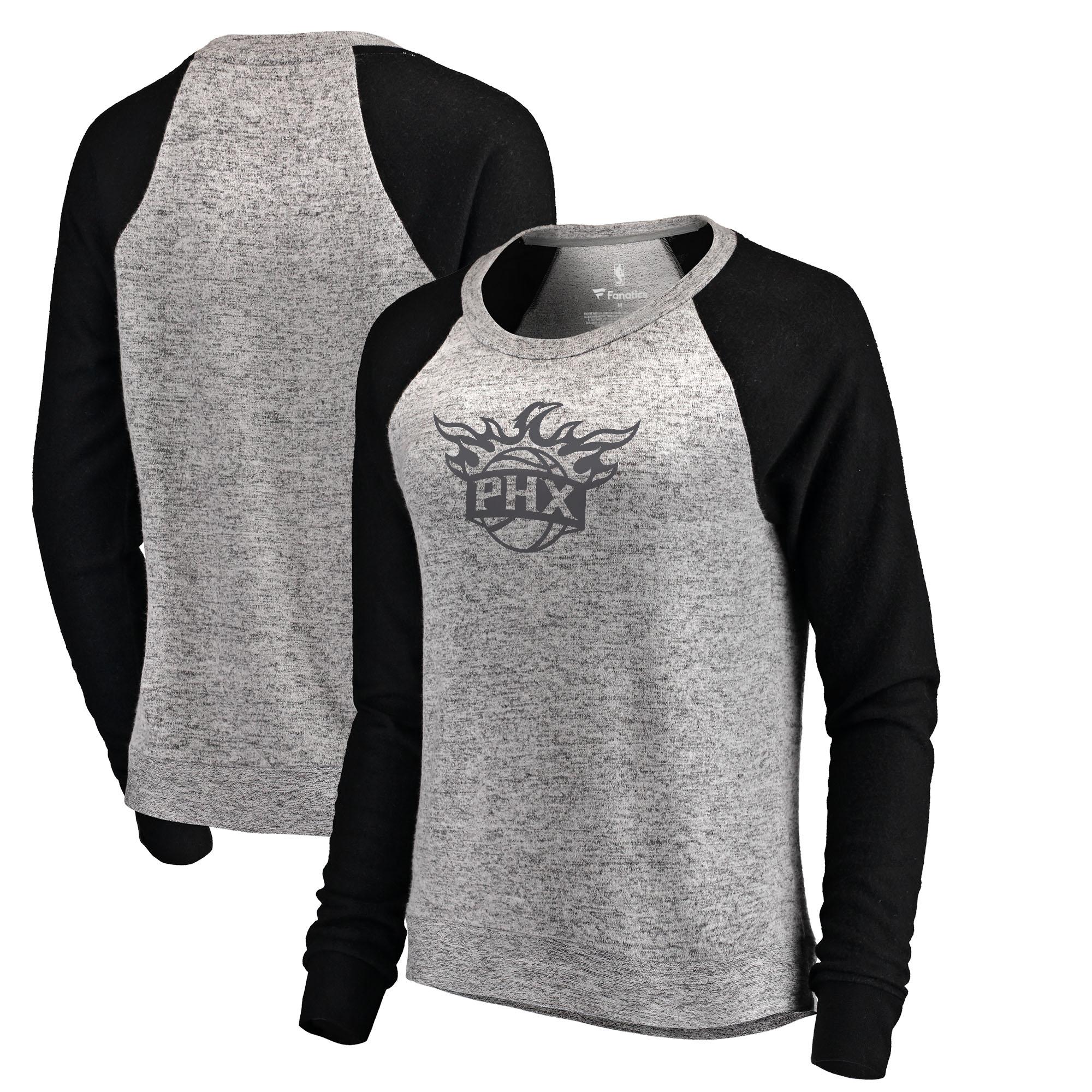 Phoenix Suns Let Loose by RNL Women's Cozy Collection Plush Raglan Crew Neck Sweatshirt - Ash/Black