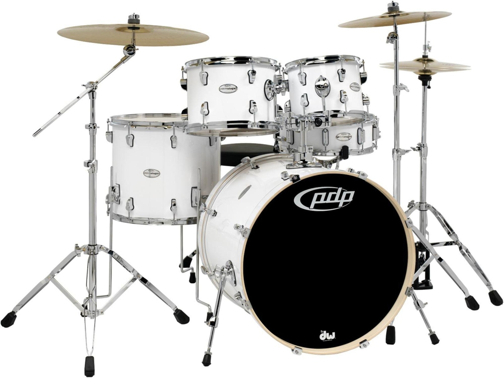 PDP by DW Mainstage 5-Piece Drum Set w Hardware and Paiste Cymbals White by PDP by DW