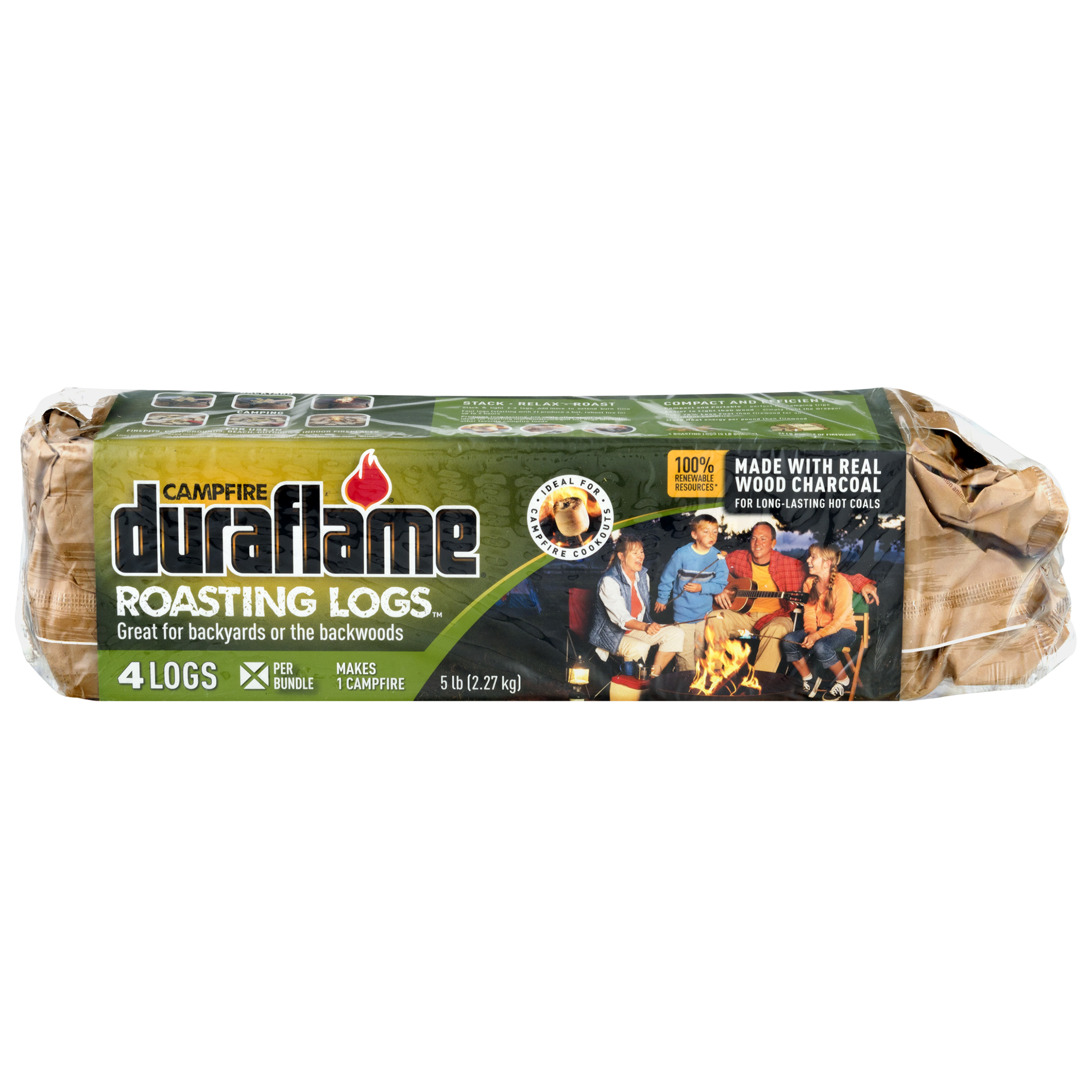 Duraflame Campfire Roasting Logs for Camping and Fire pits, Bundle of 4 Logs for one Campfire