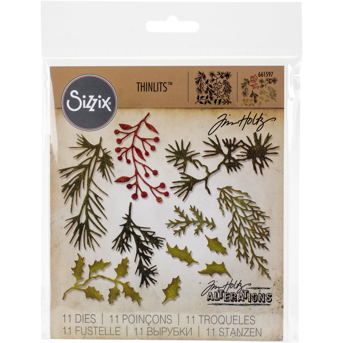 Sizzix Thinlits Dies By Tim Holtz 11/Pkg-Mini Holiday Greens