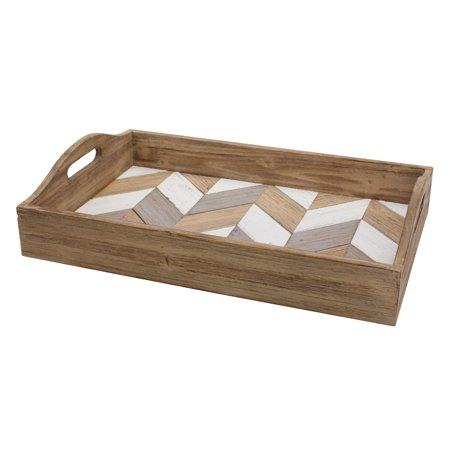 Stonebriar Rectangle Multicolor Chevron Wood Serving Tray with Handles Handled Rectangle Platter