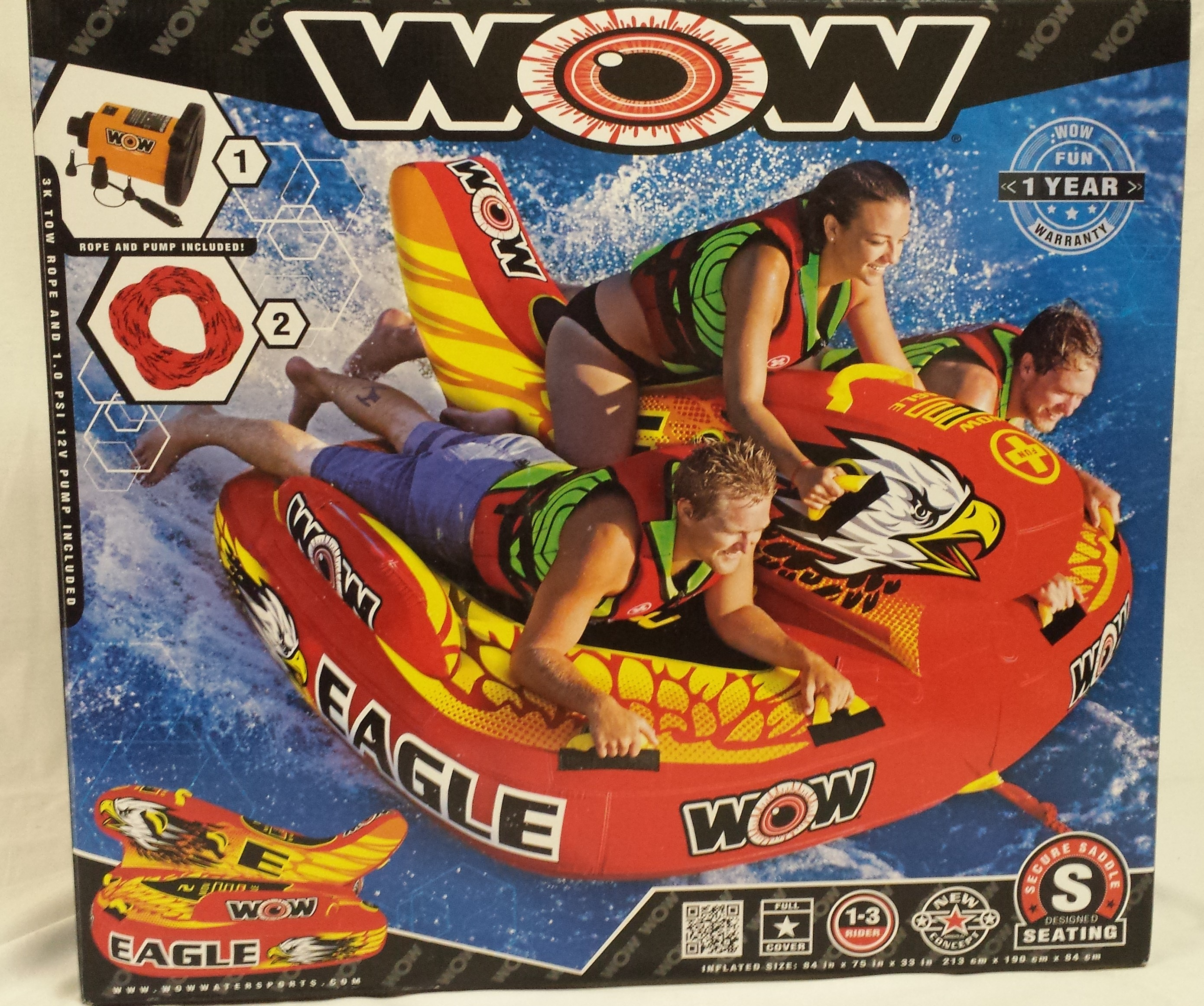 WOW Eagle Inflatable, Towable Tube Lake Water Raft with Tow Rope & Pump by