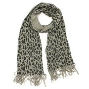Croft & Barrow Women's Leopard Animal Print Metallic Fringed Scarf (Gray)