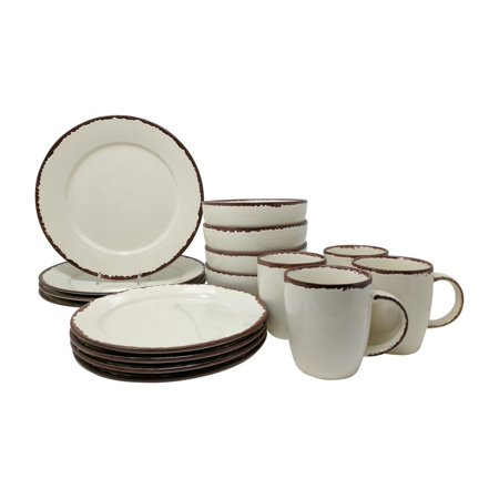 Giannas home 16 piece rustic inspired farmhouse stoneware distressed dinnerware set service for 4