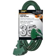 Powerzone OR605627 Extension Cord, 16 AWG, Green Jacket, 35 ft L