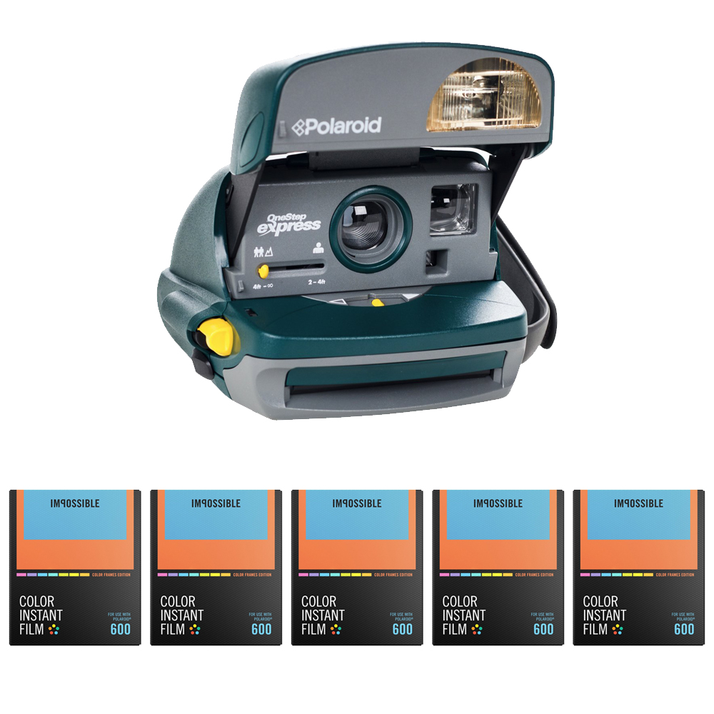 Polaroid 600 Round Instant Film Camera (Green) w  Color Instant Film (5 pack) by Impossible