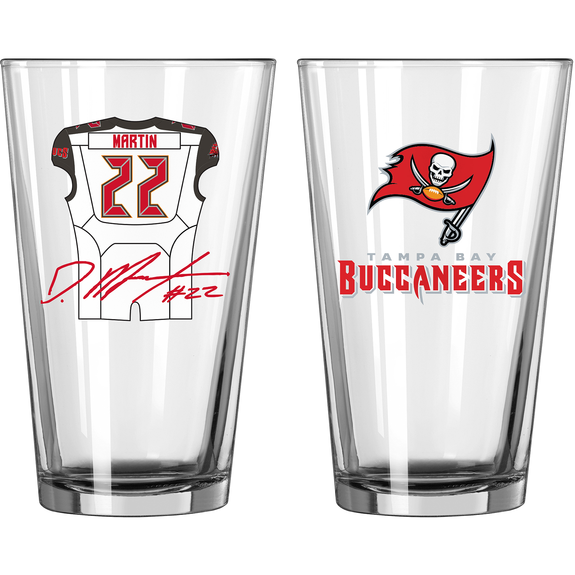 NFL 16 oz Tampa Bay Buccaneers Doug Martin Players Jersey Glass Pint, Set of 2