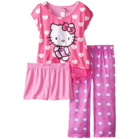 Hello Kitty Big Girls' All Over Hearts 3-Piece Pajama Set, Multi, Size: 8 (Nerdy Hello Kitty)