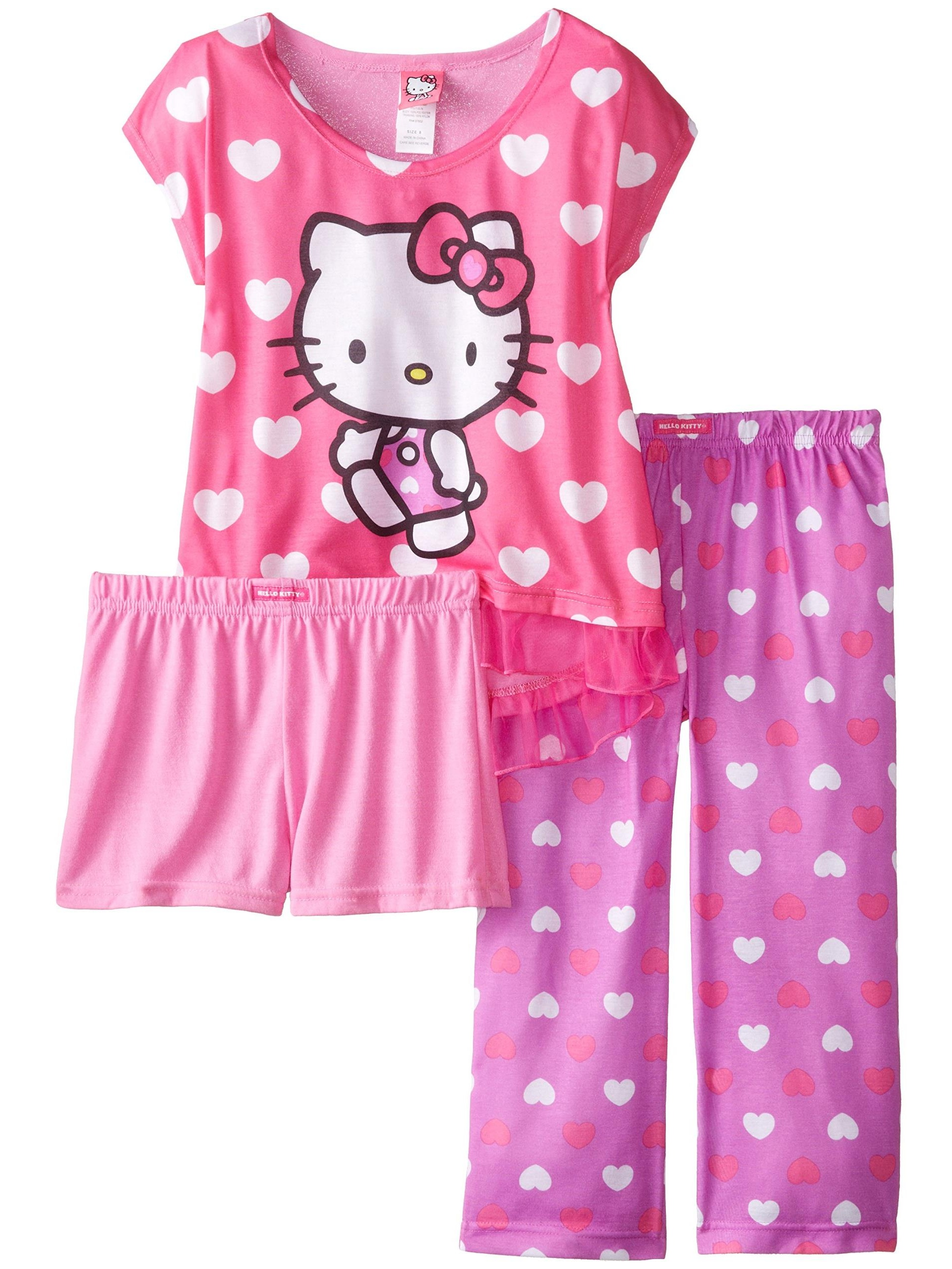 Hello Kitty Big Girls' All Over Hearts 3-Piece Pajama Set, Multi, Size: 8