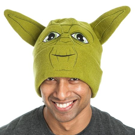 Star Wars Yoda Face with Ears Green Adult Beanie - Yoda Ears Hat