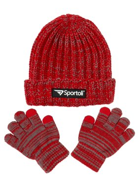 e51f15dc370 Product Image Sportoli Men s and Boys  Kids 2-Piece Marled Knit Cold  Weather Accessory Set Warm