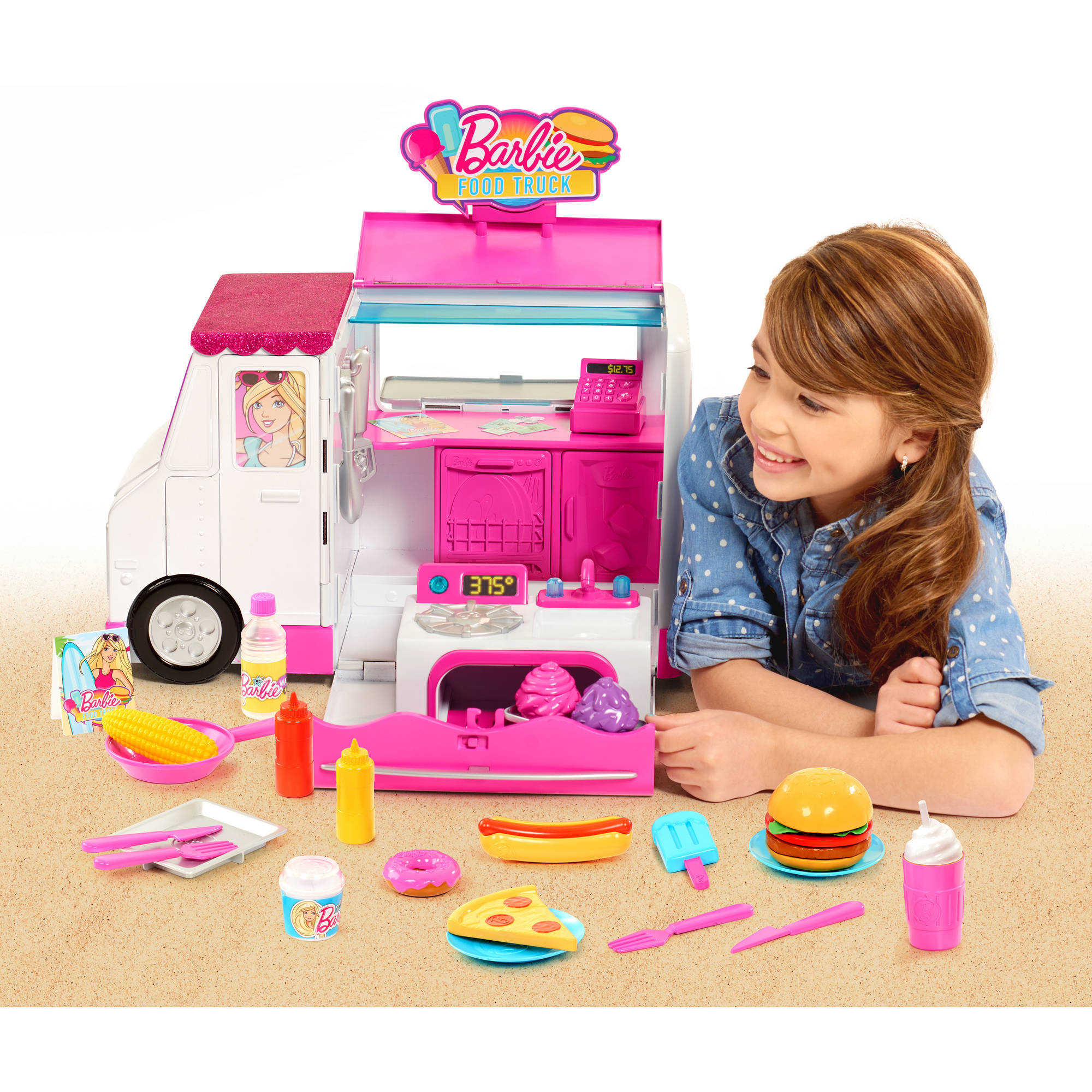 barbie food truck 31 play cooking tools light up oven sizzling grill ebay. Black Bedroom Furniture Sets. Home Design Ideas