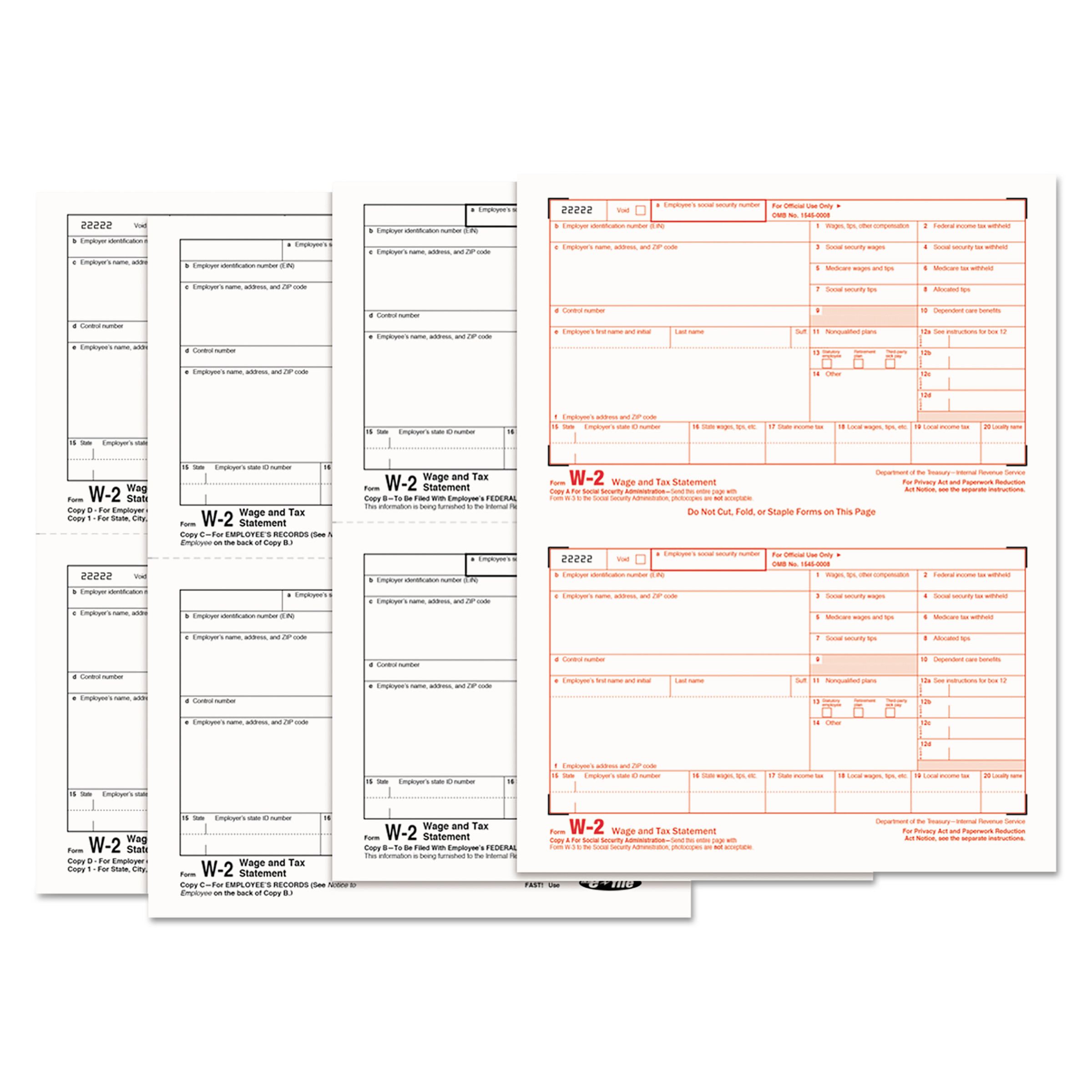 TOPS W-2 Tax Forms, 4-Part, 5 1/2 x 8 1/2, Inkjet/Laser, 50 W-2s ...