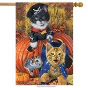 "Halloween Kittens House Flag Jack o'Lantern Pirate 28"" x 40"" Briarwood Lane"