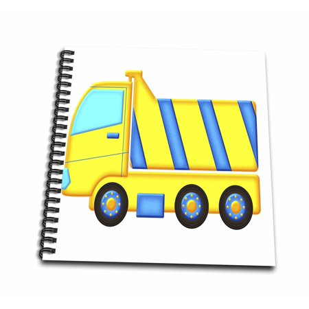 3dRose Blue and Yellow Boys Dump Truck Graphic - Mini Notepad, 4 by 4-inch (Dump Truck Drawing)