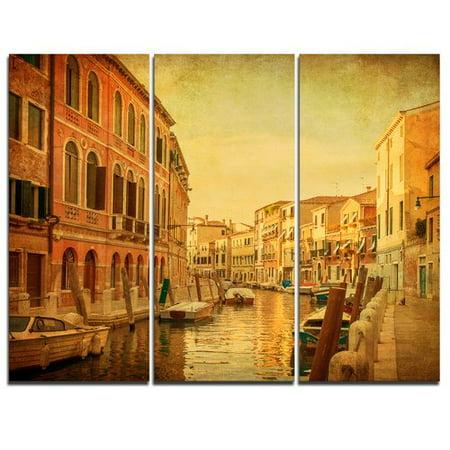 Design Art Venetian Canals Vintage View - 3 Piece Graphic Art on Wrapped Canvas Set