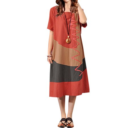 Casual Dresser (Womens Casual Loose Patchwork Long Maxi Shirt)