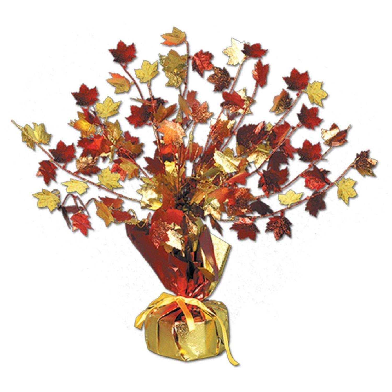 Club Pack of 12 Decorative Gleam 'n Burst Fall Leaves Centerpiece Decoration 15""