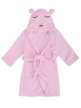 Child Cartoon Robe Animal Plush Soft Hood Terry Bathrobe,Pig Pink,S(1-3 Years)