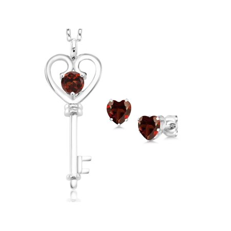 1.65 Ct Round Red Garnet 925 Sterling Silver Pendant Earrings Set