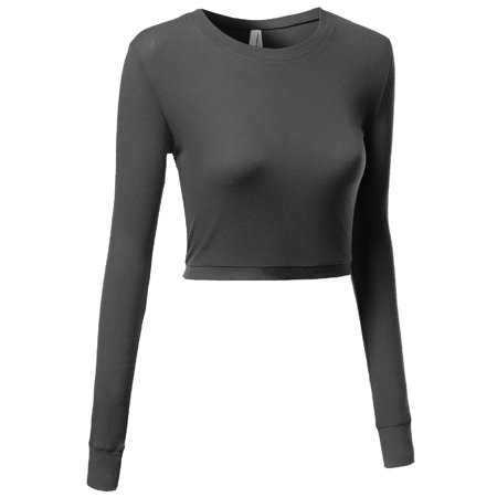 FashionOutfit Women's Basic Solid Long Sleeve Round Neck Crop Sweater Tops (Round Blue Colt)